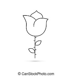 Icon of a black rose outline on a white background.