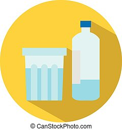 Icon of a bottle and a glass of water in flat style. Vector illustration.