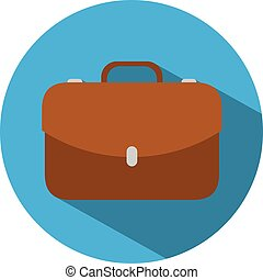 Icon of a briefcase in flat style. Vector illustration. Business concept.