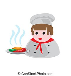 icon of a cook with a dish of food on a white isolated background. Vector image
