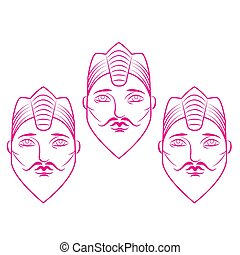 Icon of a face with a beard in a crown on a white isolated background. Circuits. Vector image.