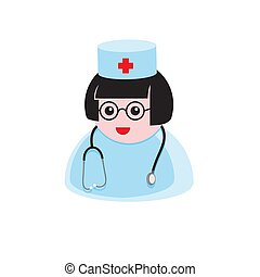 icon of a female doctor with a stethoscope in a medical hat on a white isolated background. Vector image