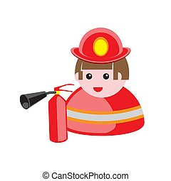 icon of a fireman in a hard hat with a fire extinguisher on a white isolated background. Vector image