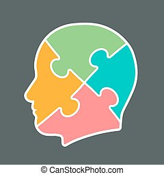 Icon of a head cut into jigsaw puzzle pieces