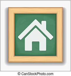 Icon of a house on blackboard, vector eps10 illustration