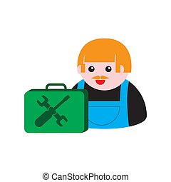 icon of a male mechanic with a suitcase of tools on a white isolated background. Vector image