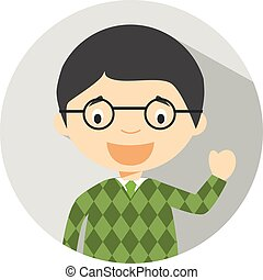 Icon of a male teacher in flat style. Vector illustration. School concept.