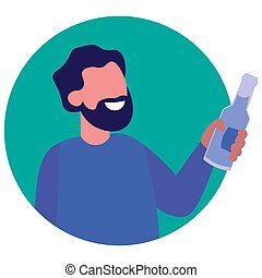 Icon of a man with a beard with alcohol on a white background. Vector illustration