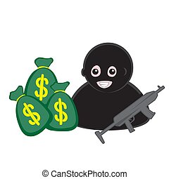 icon of a masked robber with a machine gun and bags of money on a white isolated background. Vector image