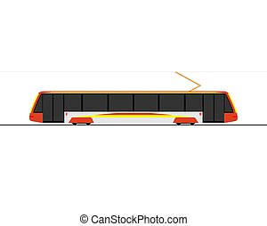 Icon of a modern tram. Side view. Vector illustration on a white background.