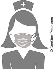 Icon of a nurse in a medical mask. Vector image.