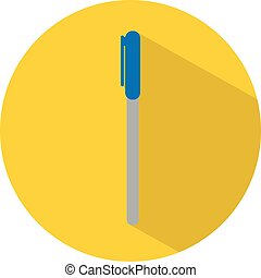 Icon of a pen in flat style. Vector illustration. School concept.