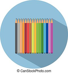 Icon of a set of colored pencils in flat style. Vector illustration. School concept.