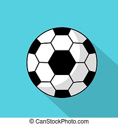 Icon of a soccer ball with a long shadow on a blue background.