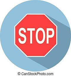 Icon of a STOP sign in flat style. Vector illustration.