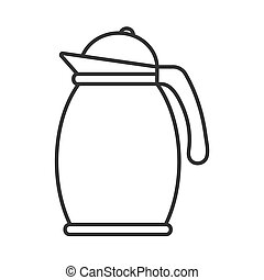 Icon of a teapot or jug with a lid. Vector stock illustration isolated on white background, empty outline