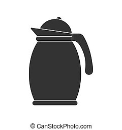 Icon of a teapot or jug with a lid. Vector stock illustration isolated on white background
