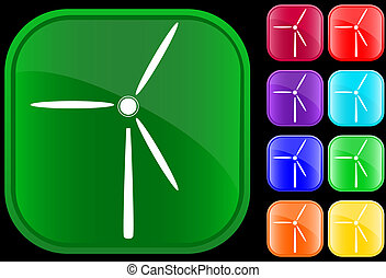 Icon of a windmill on shiny square buttons