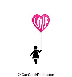 Icon of a woman holding red air balloon heart with word love isolated on white background.