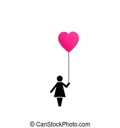 Icon of a woman holding red pink air balloon heart isolated on white background.