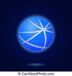 Icon of Abstract Blue Globe