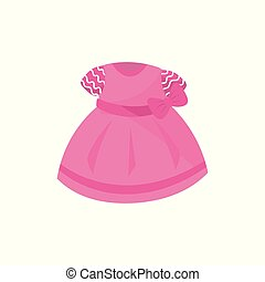 Icon of adorable pink dress with bow for little girl. Baby fashion. Apparel for newborn kid. Concept of children s clothes. Cartoon flat vector design