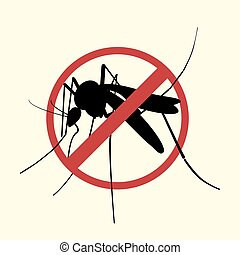 Icon of Aegypti mosquito with forbidden sign.Vector EPS10