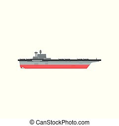 Icon of aircraft carrier with airplanes. Waterborne military...
