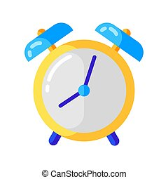 Icon of alarm clock in flat style.