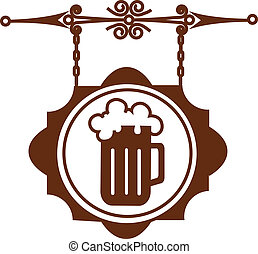 icon of ancient street signboard of beer house or bar