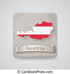 Icon of Austria map with flag. Vector illustration