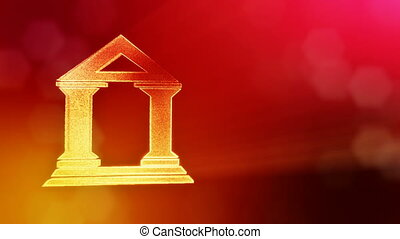 icon of bank. Financial background made of glow particles as vitrtual hologram. 3D seamless animation with depth of field, bokeh and copy space. Red version 3