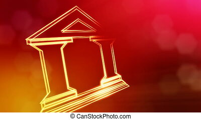 icon of bank. Financial background made of glow particles as...