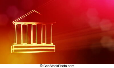 icon of bank. Financial background made of glow particles as vitrtual hologram.. 3D seamless animation with depth of field, bokeh and copy space. Red color v2