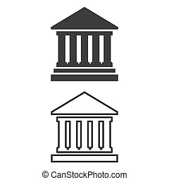Icon of Bank on white background.
