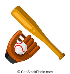 Icon of baseball glove, ball and bat in flat style.