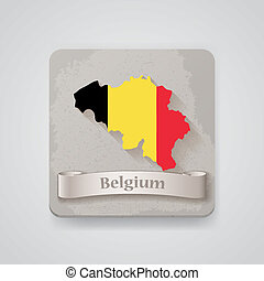 Icon of Belgium map with flag. Vector illustration