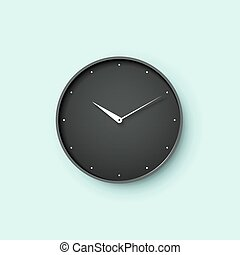 Icon of black clock face with shadow on mint wall background