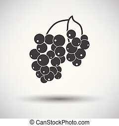 Icon of Black currant on gray background, round shadow....