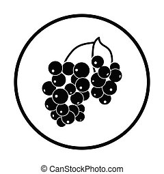 Icon of Black currant. Thin circle design. Vector...