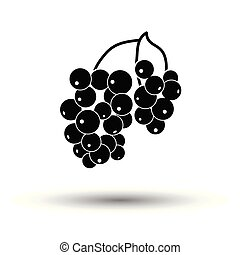Icon of Black currant. White background with shadow design....