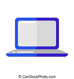 Icon of blue laptop in flat style.