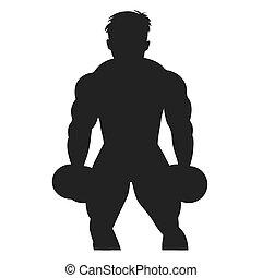 icon of bodybuilder, vector illustration
