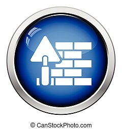 Icon of brick wall with trowel. Glossy button design. Vector...