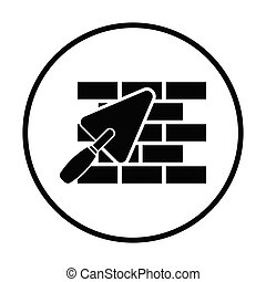 Icon of brick wall with trowel. Thin circle design. Vector illustration.