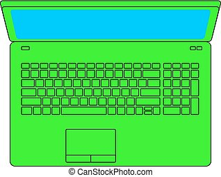 Icon of bright green laptop and white background