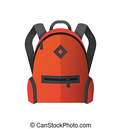 Icon of bright orange school bag. Backpack icon