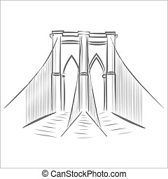 icon of brooklyn bridge. - brooklyn bridge graphic design...