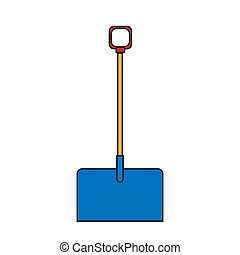 Icon of building a beautiful shovel with a wooden handle for cleaning snow. Garden snowblower on a white background. Vector illustration