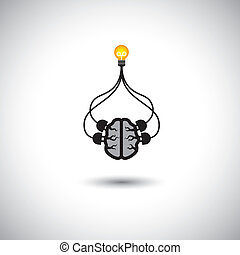 icon of bulb & brain connected - vector concept of idea creation. This graphic illustration also represents genius mind, clever person, smart solutions, problem solving, efficient use of brain, etc